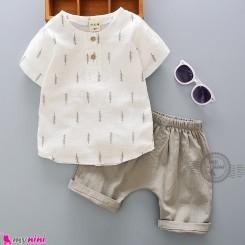 ست بلوز آستین کوتاه و شلوارک بچه گانه نخ پنبه خنک 2 تکه Baby boy clothes set