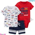 ست لباس کارترز اورجینال پسرانه نخ پنبه ای ماشین 3 تکه Carter's baby boy clothes set