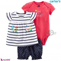 ست لباس کارترز اورجینال دخترانه نخ پنبه ای گل 3 تکه Carter's baby girl clothes set