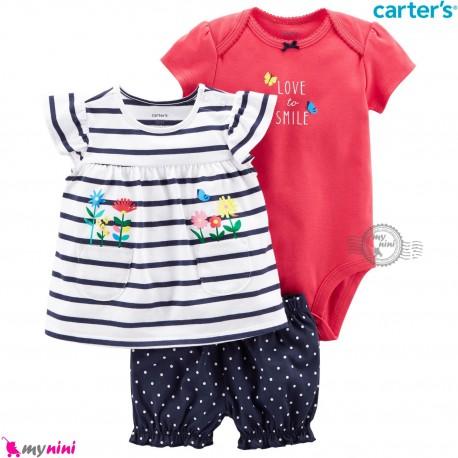 ست لباس کارترز اورجینال دخترانه نخ پنبه ای ماشین 3 تکه Carter's baby girl clothes set