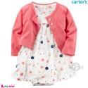 ست کت و سارافون کارترز اورجینال نخ پنبه ای 2 تکه دخترانه سارافون گلدار Carter's baby girl clothes set
