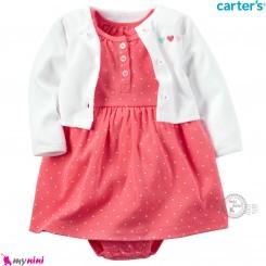 ست کت و سارافون کارترز اورجینال نخ پنبه ای 2 تکه دخترانه سارافون صورتی خالدار Carter's baby girl clothes set