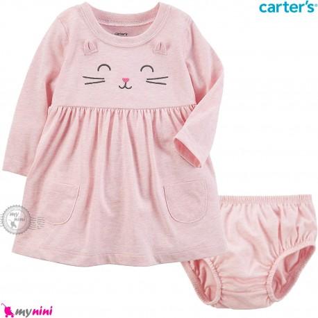 ست پیراهن و شورت کارترز اورجینال نخ پنبه ای 2 تکه دخترانه صورتی گربه Carter's baby girl clothes set