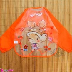 پیشبند لباسی بچه گانه ضدآب نارنجی کارتونی baby waterproof clothing bibs with sleeves