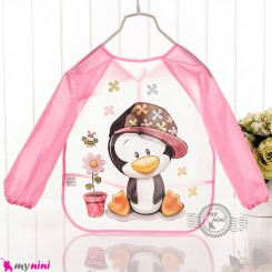 پیشبند لباسی بچه گانه ضدآب صورتی پنگوئن baby waterproof clothing bibs with sleeves