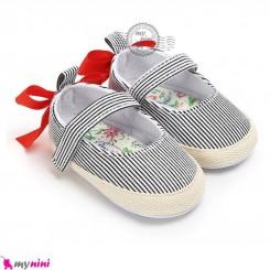 کفش دخترانه نوزاد و کودک راه راه پاپیون دار Baby girl footwear