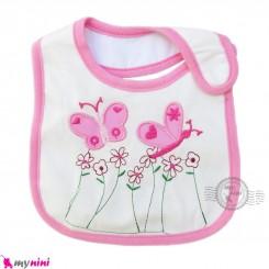 پیشبند کارترز نخی 3 لایه نوزاد و کودک صورتی گل و پروانه Carters baby cute bib