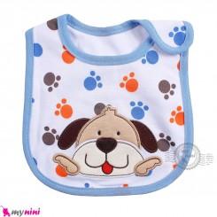 پیشبند نوزاد و کودک نخی آبی سگ سه لایه baby cotton Bib