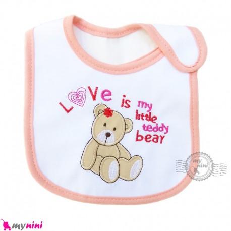 پیشبند نوزاد و کودک نخی دختر خرس سه لایه baby cotton Bib