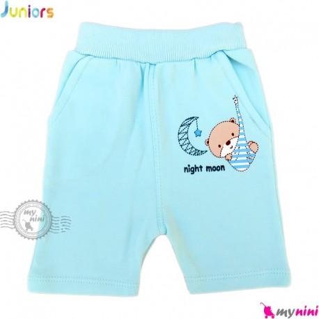 شلوارک نوزاد و کودک نخ پنبه ای مارک جونیورز آبی Juniors blue baby short pants