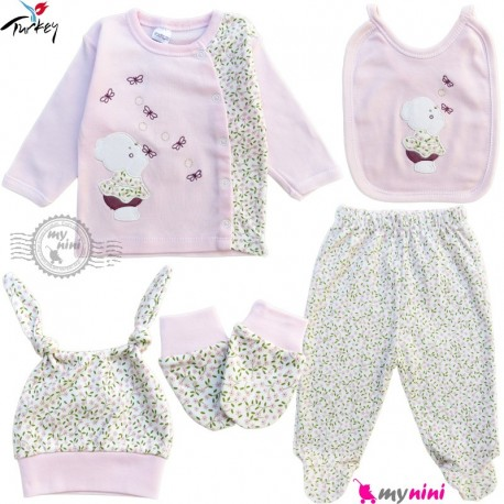ست لباس بیمارستانی نوزاد 5 تکه 0 تا 3 ماه نخی ترکیه صورتی خرس کوچولو Turkish Gaye bebe baby clothes set