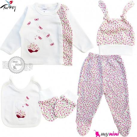 ست لباس بیمارستانی نوزاد 5 تکه 0 تا 3 ماه نخی ترکیه خرس و پروانه Turkish Gaye bebe baby clothes set