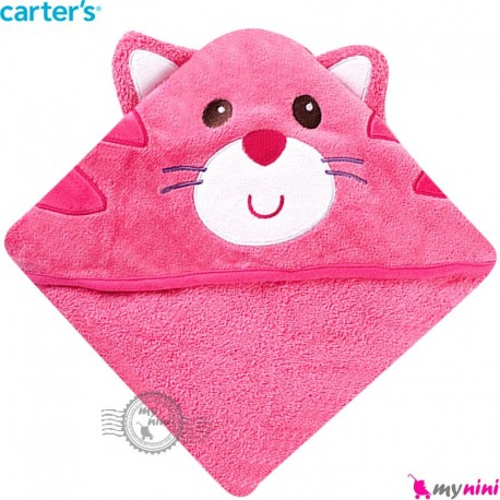 حوله کلاه دار نوزاد و کودک عروسکی مارک کارترز صورتی گربه Carters hooded towel