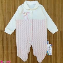 سرهمی دانتل نوزاد و کودک نخ پنبه ای مارک نسیکسز ترکیه صورتی necixs baby cotton overalls