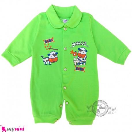 سرهمی نوزاد و کودک سبز طرح مزرعه Baby sleepsuits