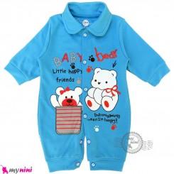 سرهمی نوزاد و کودک آبی طرح خرسی Baby sleepsuits