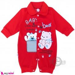 سرهمی نوزاد و کودک قرمز طرح خرسی Baby sleepsuits