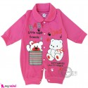 سرهمی نوزاد و کودک صورتی طرح خرسی Baby sleepsuits