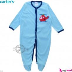 سرهمی نوزاد و کودک پنبه ای مارک کارترز 12 ماه آبی هلیکوپتر Carter's baby bodysuit