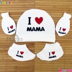 ست کلاه دستکش پاپوش نوزاد نخ پنبه ای آی لاو ماما مارک جونیورز Juniors Newborn baby cotton hat Set