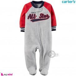 سرهمی گرم مخمل نوزاد و کودک مارک کارترز اورجینال طوسی اسپرت Carters baby fleece pajamas