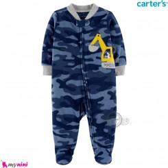 سرهمی گرم مخمل نوزاد و کودک مارک کارترز اورجینال ارتشی سرمه ای Carters baby fleece pajamas