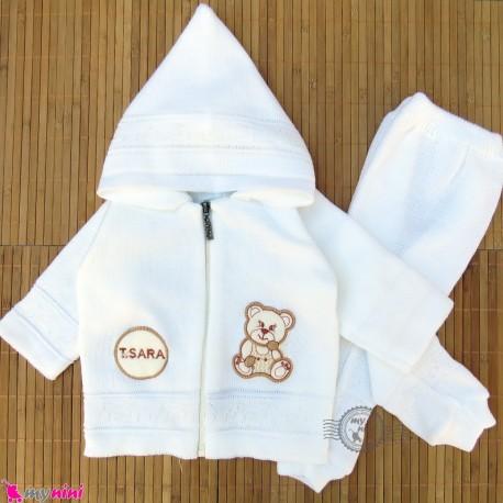 ست سویشرت و شلوار نوزاد و کودک بافتنی رنگ شیری طرح خرسی 6 تا 18 ماه baby warm clothes set