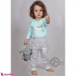 بلوز و شلوار نوزاد و کودک نخ پنبه ای فیروزه ای طوسی طرح خرس Baby clothes set