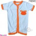 رامپرز بچه گانه مارک نکست نخ پنبه ای آبی نارنجی خرچنگ Next Baby rompers