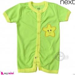 رامپرز بچه گانه مارک نکست نخ پنبه ای سبز ستاره Next Baby rompers