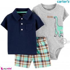 لباس کارترز اورجینال پسرانه 3 تکه شلوارک و بادی کوتاه طوسی سرمه ای یقه دار دایناسور  Carter's kids clothes set