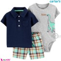 لباس کارترز اورجینال پسرانه 3 تکه شلوارک و بادی کوتاه طوسی سرمه ای دایناسور  Carter's kids clothes set
