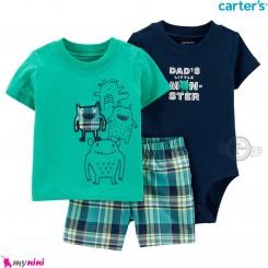 لباس کارترز اورجینال پسرانه 3 تکه شلوارک و بادی کوتاه سرمه ای سبز غول Carter's kids clothes set