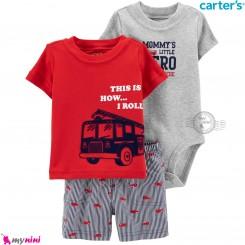 لباس کارترز اورجینال پسرانه 3 تکه شلوارک و بادی کوتاه طوسی قرمز آتشنشانی Carter's kids clothes set