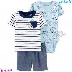 لباس کارترز اورجینال پسرانه 3 تکه شلوارک و بادی کوتاه آبی تنبل Carter's kids clothes set
