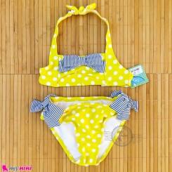 مایو دخترانه 2 تکه زرد پاپیون دار مارک اورجینال لیکرا LYCRA baby girl swimsuits