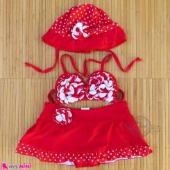 مایو دخترانه 3 تکه قرمز خالدار baby girl swimsuits