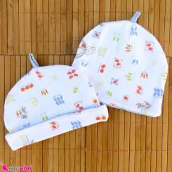 کلاه نوزاد پنبه ای 2 لایه آبی سفید baby cotton hat