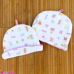 کلاه نوزاد پنبه ای 2 لایه صورتی سفید baby cotton hat