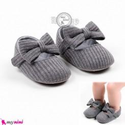 کفش دخترانه نوزاد و کودک کبریتی پاپیون طوسی Baby girl footwear