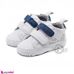 کفش نوزاد و کودک اسپرت سفید سرمه ای استپ دار Baby footwear