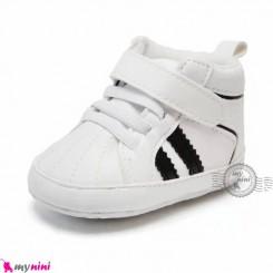 کفش اسپرت نوزاد و کودک ساق دار سفید مشکی Baby footwear