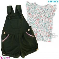 ست بیلرسوت کتان و تیشرت کارترز اصل 2 تکه دخترانه سبز گل  Carter's 2-Piece Tee & Shortalls Set