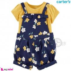 ست بیلرسوت و تیشرت کارترز اصل 2 تکه دخترانه سرمه ای زرد گلدار  Carter's 2-Piece Tee & Shortalls Set