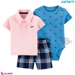 لباس کارترز اورجینال 3 تکه شلوارک و بادی کوتاه آبی و صورتی یقه دار Carter's kids clothes set