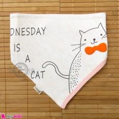 دستمال گردن بچه گانه 2 لایه گربه Baby Triangle cotton bibs