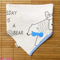 دستمال گردن بچه گانه 2 لایه خرس Baby Triangle cotton bibs