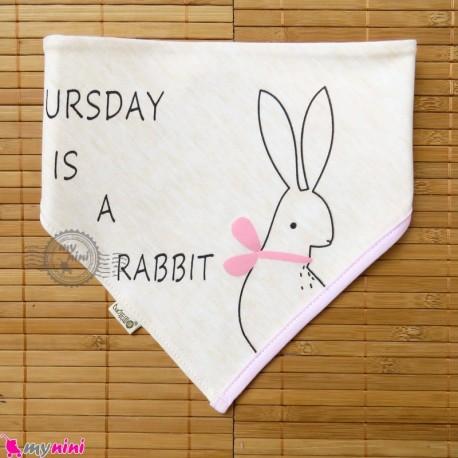 دستمال گردن بچه گانه 2 لایه خرگوش Baby Triangle cotton bibs