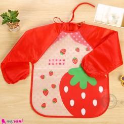 پیشبند لباسی بچه گانه ضدآب قرمز توت فرنگی baby waterproof clothing bibs with sleeves