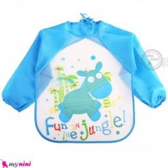 پیشبند لباسی بچه گانه ضدآب آبی جنگل baby waterproof clothing bibs with sleeves